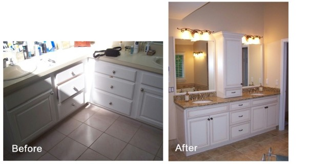 Bath 1-Double sink vanity before and after